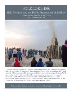 Image of a midsummer bonfire in Toivola, Michigan, as part of a poster advertising a summer field school to be held in June of 2018.