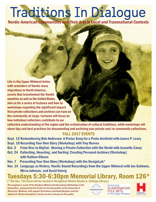 Poster featuring a young woman with a reindeer next to a description of the lecture and workshop series.