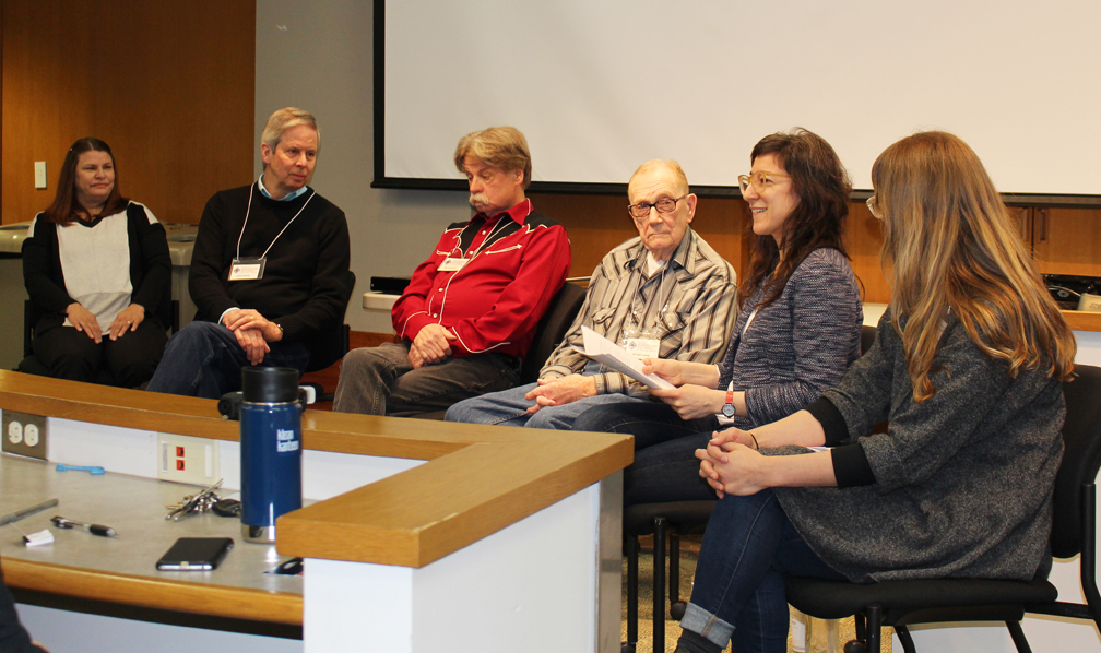 Rina Rossi and Kaitlyn Berle (right) facilitate a discussion with Marikay Dahlin, Paul Dahlin, Bill Peterson, and Dwight Lamb about their experiences with folklore apprenticeship programs