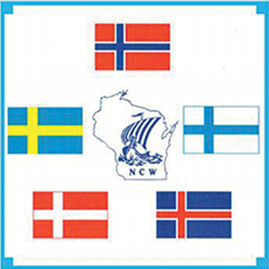 Nordic Council of Wisconsin's logo featuring the flags of the Nordic countries surrounding an outline of the state of Wisconsin.