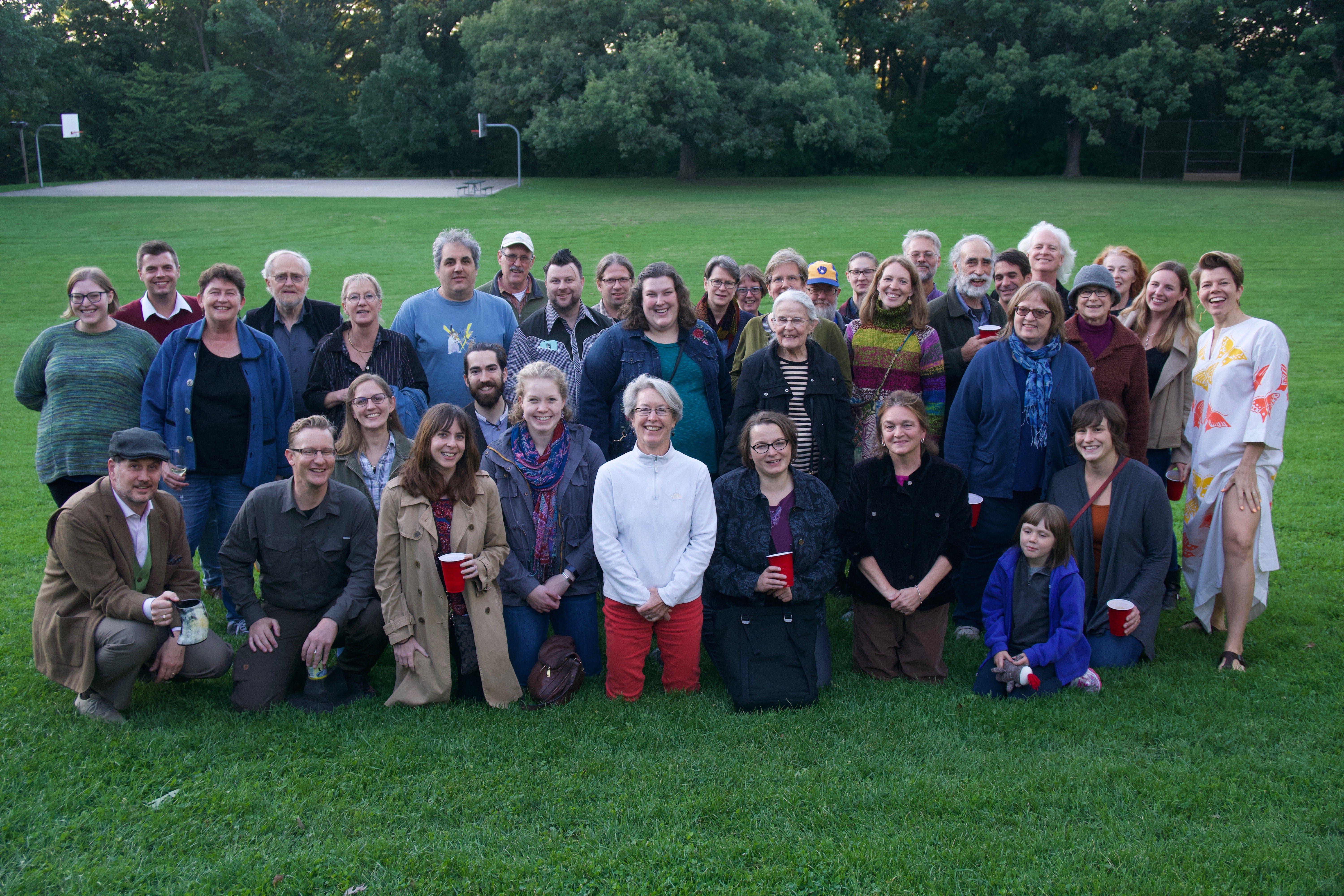Group photo of folklorists at Hoyt Park in Madison, Wisconsin.