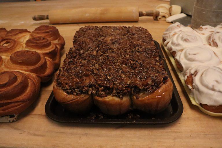 Pan of pecan rolls