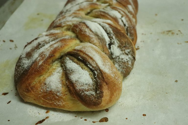 Baked cardamom bread loaf
