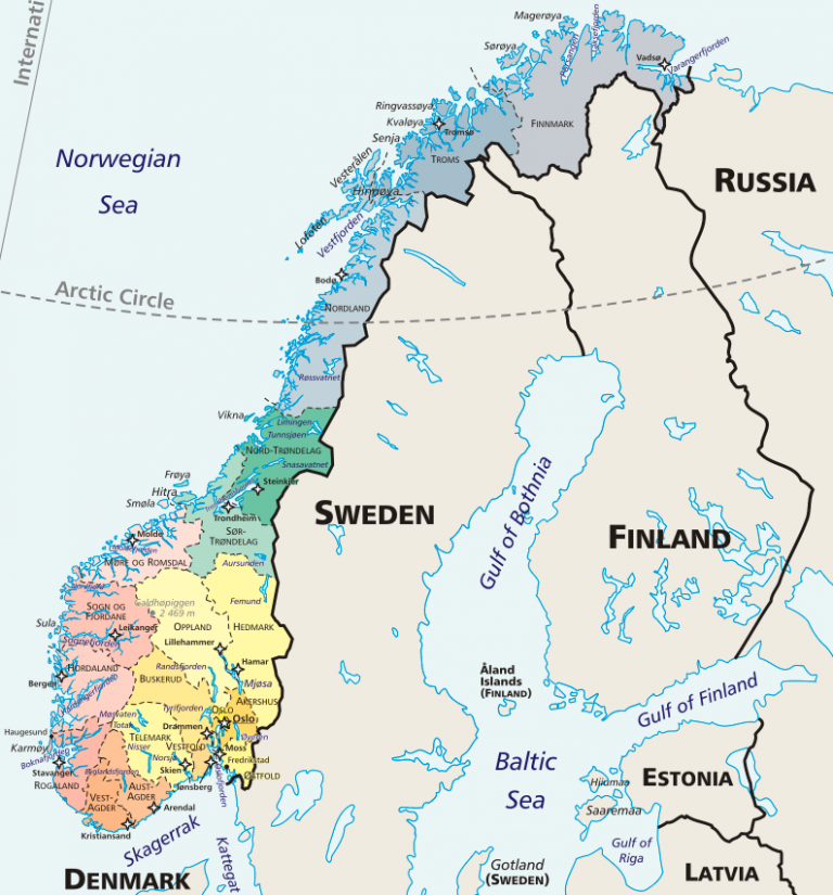 A map of Norway, Sweden, and Finland with the different regions of Norway highlighted in different colors.