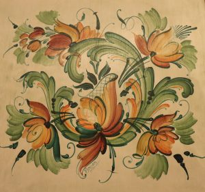 A green and orange design with light brushstrokes showing the transparent Telemark style.